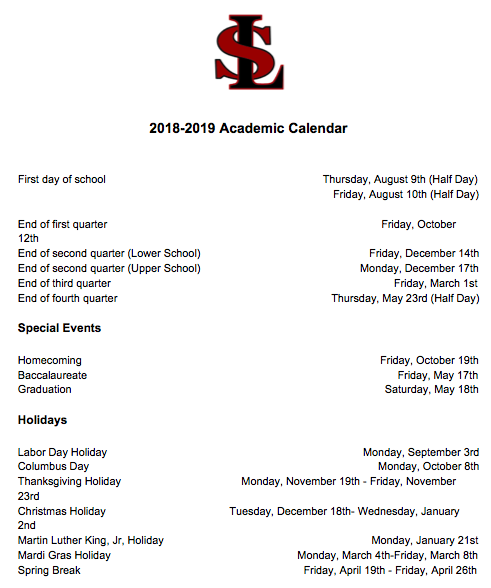 University Of Alabama 2019 Calendar 2018 2019 Academic Calendar   St. Luke's Episcopal School